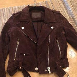 BlankNYC Suede Moro Jacket in Burgundy